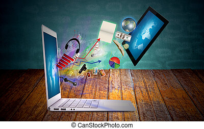 tablette, ordinateur portable, moderne, informatique, écran tactile