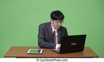 tablette, ordinateur portable, multi-tasking, jeune, ...