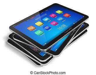 tablette, ordinateurs, ensemble