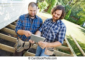 tablette, ouvriers, manuel, mi, site, projet, construction, ...