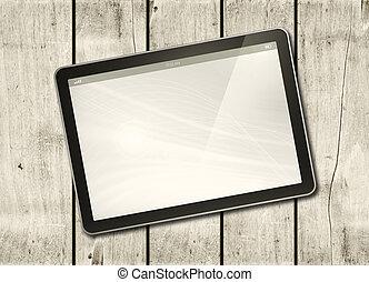 tablette pc, holz, digital, tisch, weißes