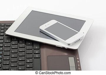 tablette pc, &, laptop, telefon, klug