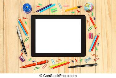 tablette pc, mit, schule, büromaterial