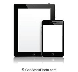 tablette pc, mit, telefon