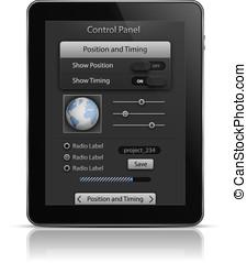 tablette pc, mit, ui, elemente