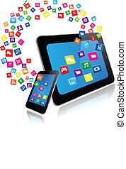 tablette pc, und, klug, telefon, mit, apps