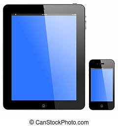 tablette pc, und, smartphone