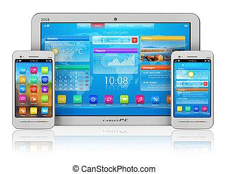 tablette pc, und, smartphones