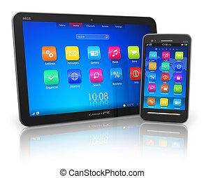tablette pc, und, touchscreen, smartphone