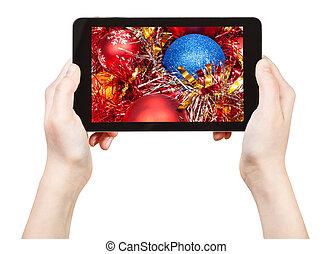 tablette, photo, pc, prendre, décorations, noël, rouges
