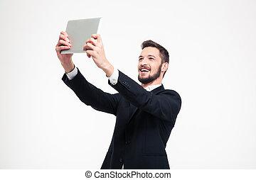 tablette, photo, selfie, informatique, confection, homme affaires