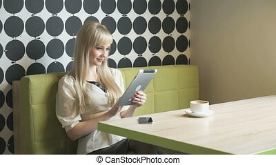 tablette, photos, informatique, regarde, utilisation, girl
