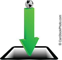 tablette, planet, 20.04.13, pfeil, grüne erde, modell
