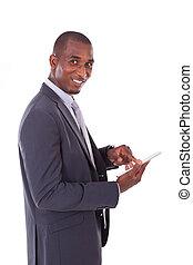 tablette, professionnels, sur, -, américain, arrière-plan noir, africaine, utilisation, blanc, homme, tactile