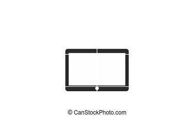tablette, programmation, icônes, langue
