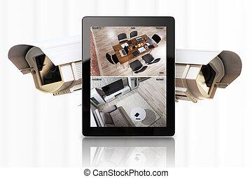 tablette, projection, système, automation, numérique, maison