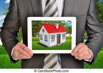 tablette, propriété, photo, projection, agent, maison, écran