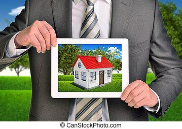 tablette, propriété, photo, projection, agent, tenue, maison, écran