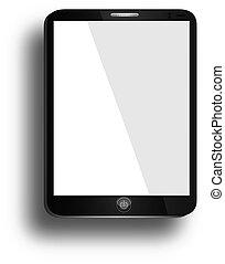tablette, réaliste, écran, isolé, ordinateur pc, fond, vide, blanc