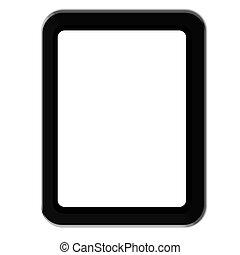 tablette, réaliste, écran, isolé, ordinateur pc, vide, blanc