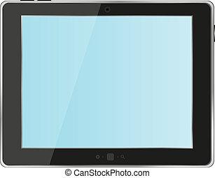 tablette, résumé, pc, arrière-plan noir, blanc