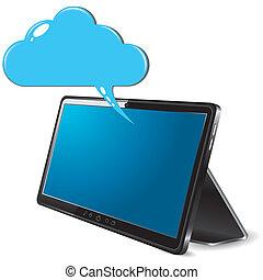 tablette, résumé, pc, arrière-plan noir, nuage blanc