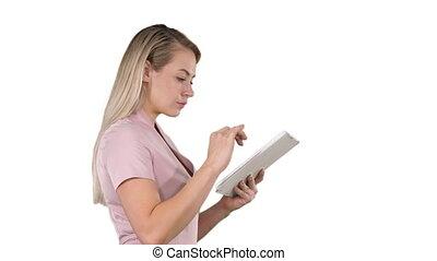 tablette, recherche, arrière-plan., quelque chose, tenue, numérique, girl, blanc