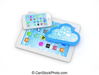 tablette, rendering., telefon, pc, cloud., klug, 3d
