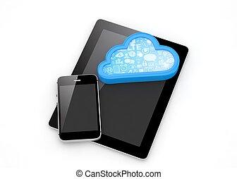 tablette, rendering., telefon, pc, cloud., klug, 3d