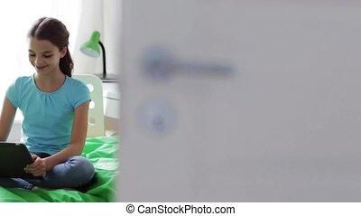 tablette, séance, lit, pc, maison, girl, heureux
