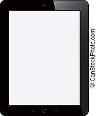 tablette, schirm, freigestellt, edv, hintergrund, leer