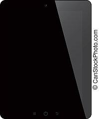 tablette, schirm, freigestellt, edv, schwarzer hintergrund