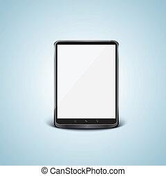 tablette, screen., pc, vecteur, noir, blanc