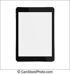 tablette, screen., réaliste, vecteur, noir, vide, blanc, intelligent