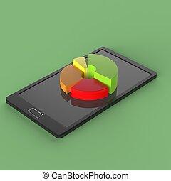tablette, simple, écran, graphique circulaire, diagramme, pc, 3d