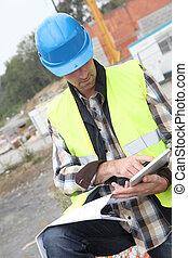 tablette, site, directeur, construction, utilisation, électronique