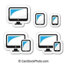 tablette, smartphone, informatique, icônes