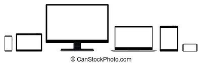 tablette, smartphone, notizbuch, sammlung, monitor