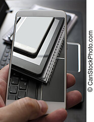 tablette, smartphone, pc portable, électronique, appareils