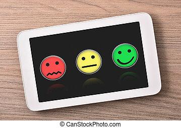 tablette, sommet, niveaux, satisfaction, bois, représentation, table, vue