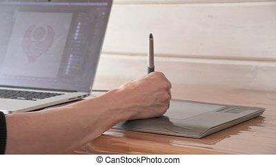 tablette, stylo, graphique, stylus, mâle, concepteur, ordinateur portable, dessine, sien, help., gros plan