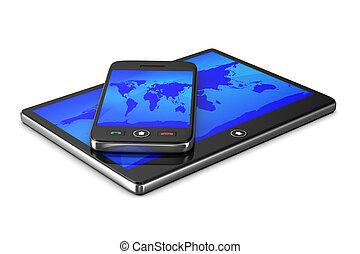 tablette, téléphone, image, isolé, arrière-plan., blanc, 3d