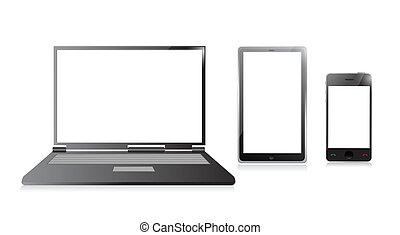 dessins de tablette t l phone mobile ordinateur portable ordinateur csp13855434. Black Bedroom Furniture Sets. Home Design Ideas