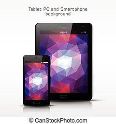 tablette, téléphone, mobile, pc, noir, gabarit