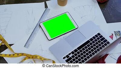 tablette, table, ordinateur portable, croquis, 4k, numérique