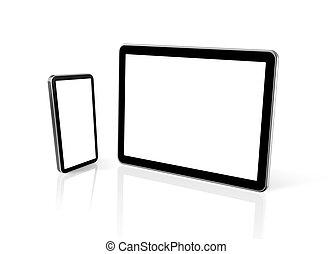 tablette, telefon, beweglich, pc computer, digital