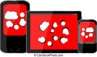 tablette, telefon, beweglich, schirm, pc, klug, digital, wolke