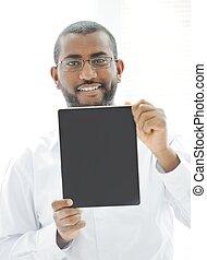 tablette, tenue, africaine, prêt, message, ton, homme