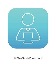 tablette, tenue, numérique, icon., ligne, homme