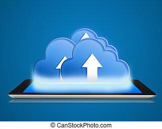 tablette, und, wolke, rechnen